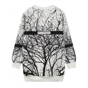 Round Neck Tree Branch Print Sweatshirt -