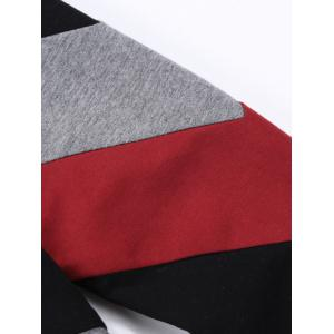 V-Neck Diagonal Striped Color Block Sweatshirt - Rouge et Noir XL