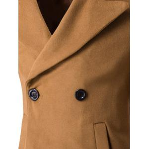 Turn-Down Collar Embroidery Double-Breasted Woolen Coat - CAMEL 2XL