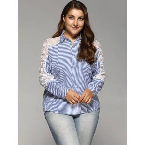 Openwork Lace Spliced Plus Size Stripe Shirt -