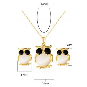 Faux Opal Owl Shape Jewelry Set -
