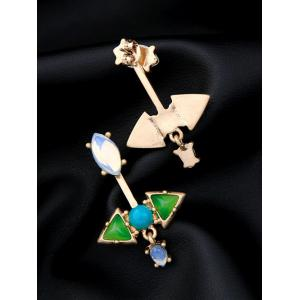 Pair of Triangle Faux Gem Ear Jackets -