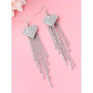 Rhinestone Tassel Chains Heart Earrings - SILVER