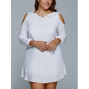 Plus Size Cold Shoulder Mini Shift Dress - WHITE 5XL