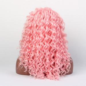 Long Curly Lace Front Synthetic Wig - SHALLOW PINK
