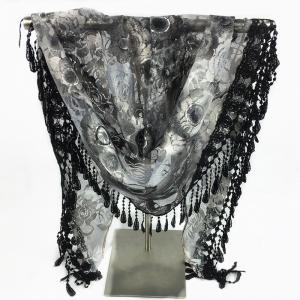 Feather Pendant Flower Pattern Trim Lace Triangle Scarf - BLACK