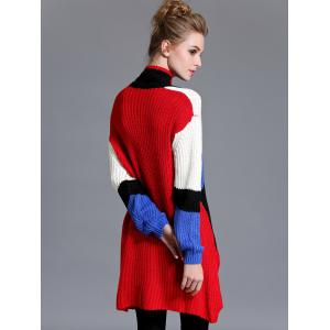 High Low Color Block Long Sweater -