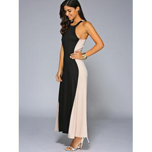 Color Block Jewel Neck Sleeveless Maxi Dress -