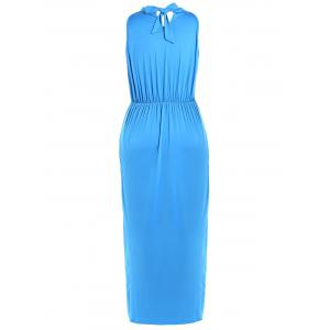 High Waist Tied-Up Ruched Maxi Dress -