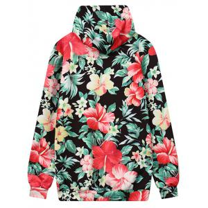 Front Pocket Floral Outerwear Hoodie -