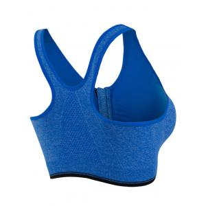 Genie Padded Racerback Zipper Front Running Sports Bra -