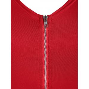 Plus Size Zip Front Flying V Neck Bodycon Dress - RED 4XL