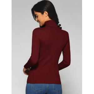Turtleneck Slim Fit Sweater - WINE RED ONE SIZE