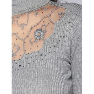 Beading Embroidered Turtleneck Sweater -