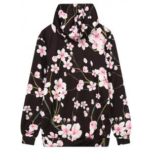 Front Pocket Floral Print Outerwear Hoodie -