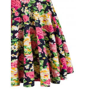 Retro Style Knitted Flare Floral Dress -