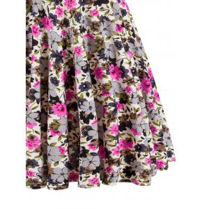 Retro Style  Knitted  Floral Flare Dress -