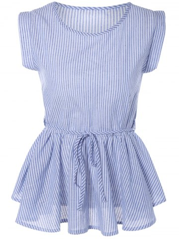 Chic Pinstripe Print Pleated Sleeveless Blouse