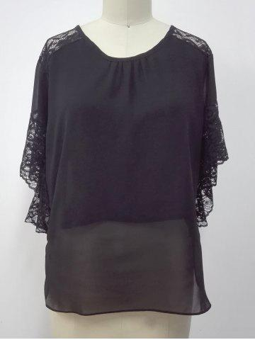 Store Lace Spliced Butterfly Sleeves Blouse BLACK XL