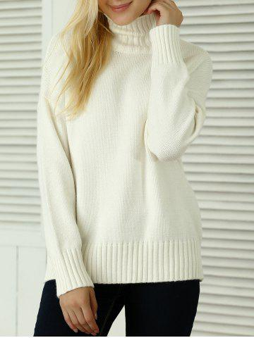 Buy Knitted Pullover Loose-Fitting Sweater WHITE ONE SIZE