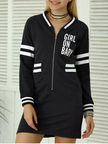 Unique Letter Applique Zipper Sweatshirt Dress