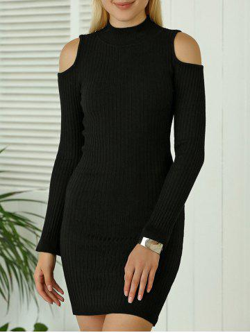 New Cold Shoulder Mini Fitted Sweater Dress