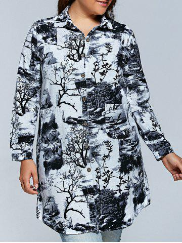 Latest Plus Size Ink Painting Long Sleeve Button Down Dress