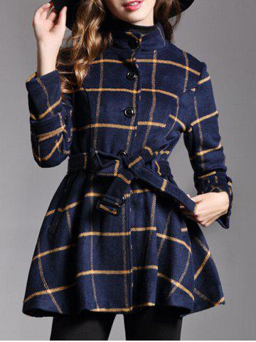Hot Button Down Belted Plaid Coat