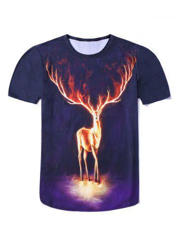 Discount 3D Starry Sky Elk Printing Round Neck Short Sleeves Fitted T-Shirt For Men BLACK 3XL
