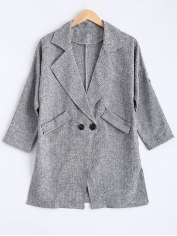 Fancy Buttons Pocket Flax Lapel Trench Coat