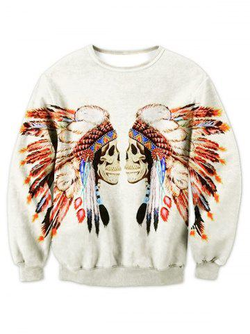 Buy Crew Neck Tribal Skull Printed Sweatshirt OFF WHITE 2XL