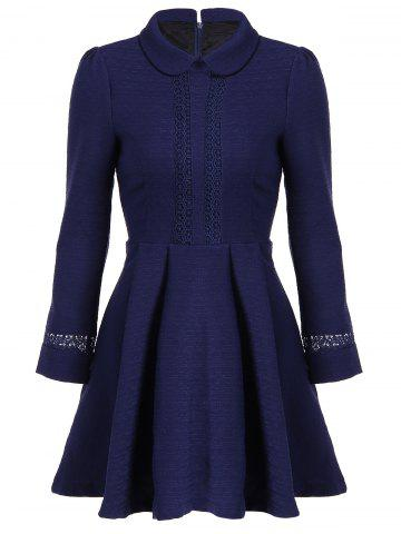 Elegant Peter Pan Collar Lace Spliced Fit and Flare Dress - Cadetblue - M