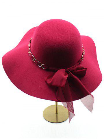 Hot Bowknot Floppy Wool Fedora Hat - CLARET  Mobile