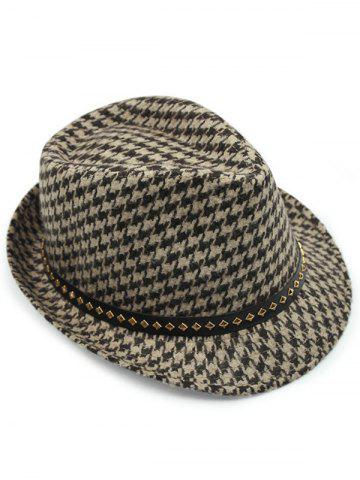 Outfits Houndstooth Keep Warm Wool Belt Buckle Rivets Jazz Hat - COFFEE  Mobile