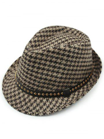 Shops Houndstooth Keep Warm Wool Belt Buckle Rivets Jazz Hat