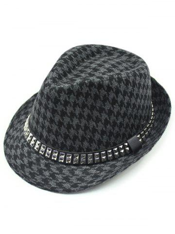 Outfits Houndstooth Keep Warm Wool Belt Buckle Rivets Jazz Hat