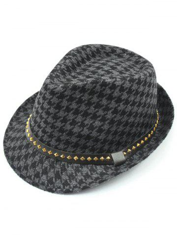 Store Houndstooth Keep Warm Wool Belt Buckle Rivets Jazz Hat - GRAY  Mobile