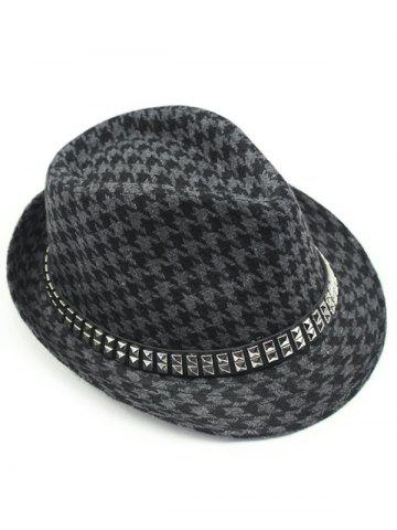 New Houndstooth Keep Warm Wool Belt Buckle Rivets Jazz Hat - GRAY  Mobile