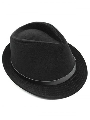 Buy Pure Color Embellished Flanging Pin Buckle Belt Fedora Hat - BLACK  Mobile