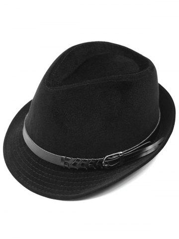 Store Pure Color Embellished Flanging Pin Buckle Belt Fedora Hat BLACK
