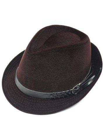 Hot Pure Color Embellished Flanging Pin Buckle Belt Fedora Hat - BRICK-RED  Mobile