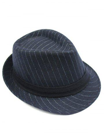 Outfits Pure Color Striped Belt Wool Fedora Hat - DEEP BLUE  Mobile