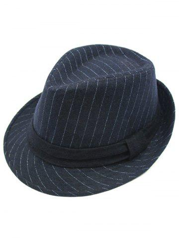 Latest Pure Color Striped Belt Wool Fedora Hat