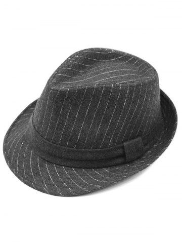 Outfits Pure Color Striped Belt Wool Fedora Hat - DEEP GRAY  Mobile