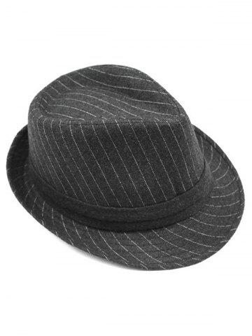 New Pure Color Striped Belt Wool Fedora Hat - DEEP GRAY  Mobile