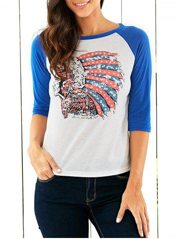 Affordable Raglan Sleeves Indian Print T-Shirt