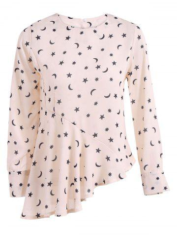 Fashion Stars Moon Print Asymmetric Peplum Blouse