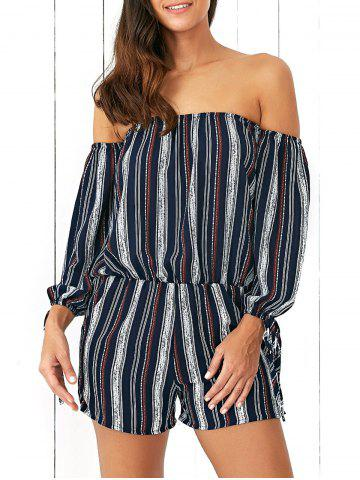 Latest Off-The-Shoulder Tied Sleeves Striped Romper