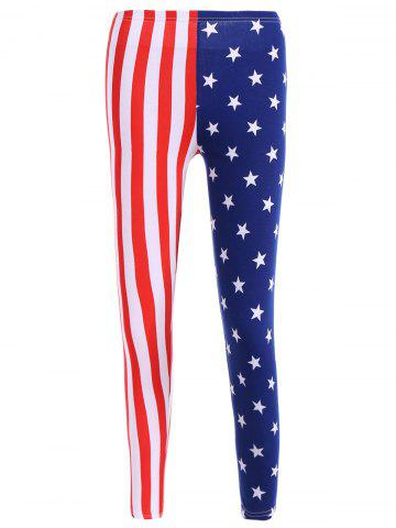Trendy High Waisted Vertical Stripe Star Print Flag Leggings