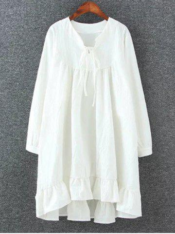 Outfits High Low Flounced Loose Mini Dress WHITE 3XL